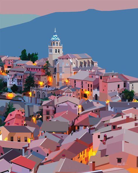 Espagne Affiche Murale Estampes Albarracin Coloré Oeuvre