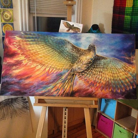 Red Tailed Hawk Turned Phoenix painting limited by joyinmystudio