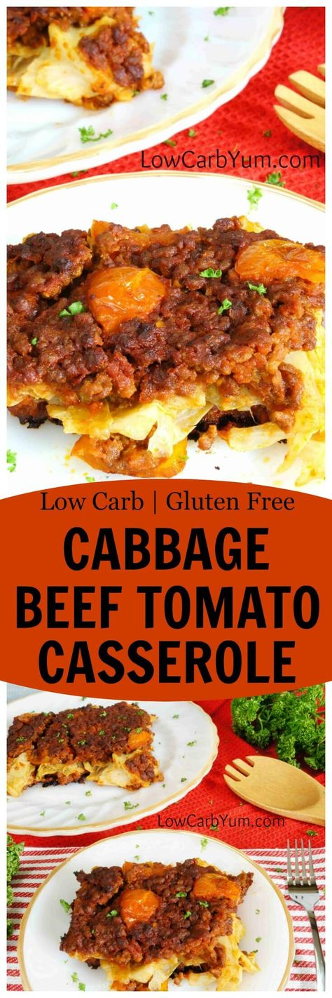 A simple low carb gluten free cabbage beef tomato casserole. This recipe bakes…