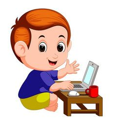 Boy Cartoon With Laptop Royalty Free Vector Image Kids Clipart Free Teacher Classroom Decorations Computer Vector