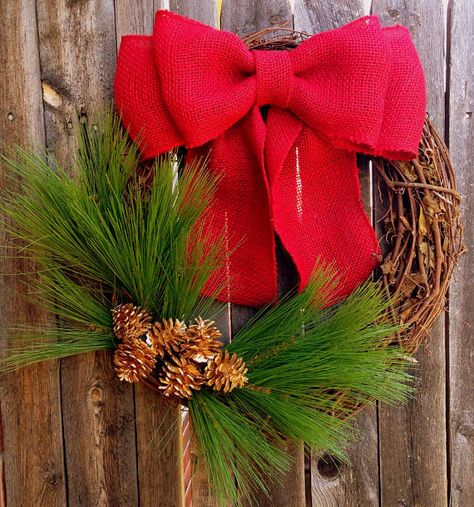 Evergreen Christmas Wreath with Red Burlap Bow-Winter, Holiday, Christmas on Etsy, $40.00