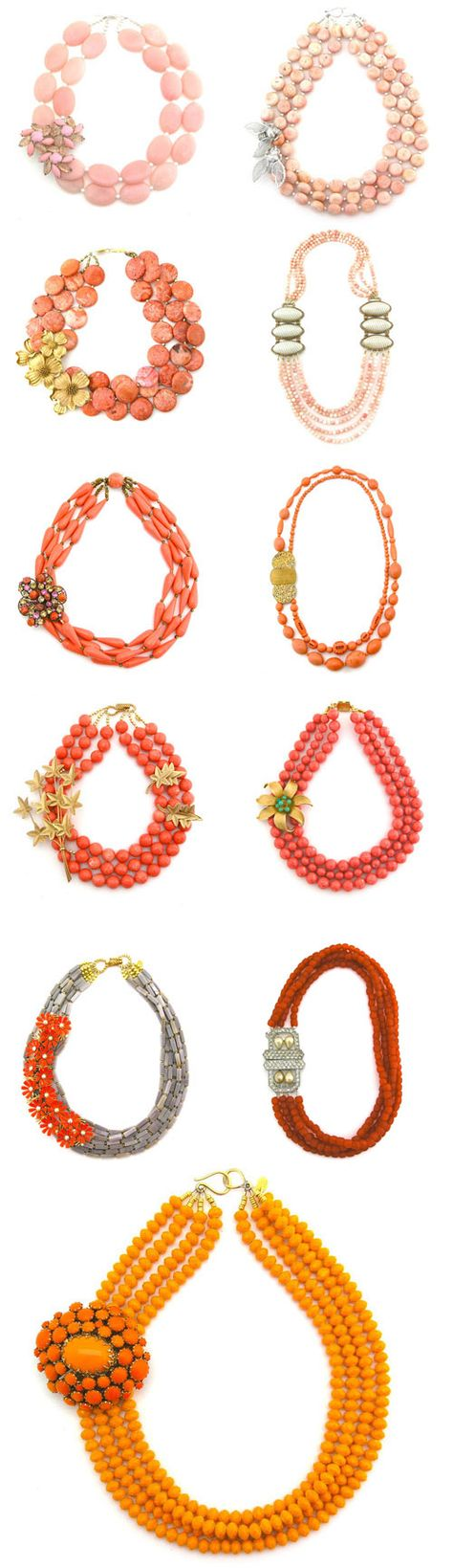 Coral, pink, peach and orange necklaces from the Elva Fields spring 2012 collection!
