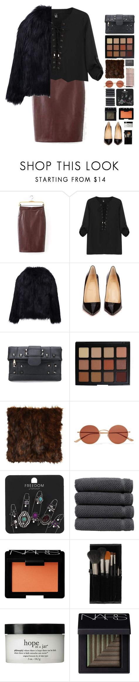 """""""you're a liability    yoins 6"""" by lanadelnotyou ❤ liked on Polyvore featuring WithChic, Christian Louboutin, Morphe, NARS Cosmetics, Isabella Collection, Oliver Peoples, Aveda, Topshop, Linum Home Textiles and philosophy"""