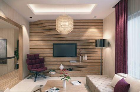Fernsehwand Ideen Holz 3d Regal Eingebaut Stuhl Purpur Sessel In