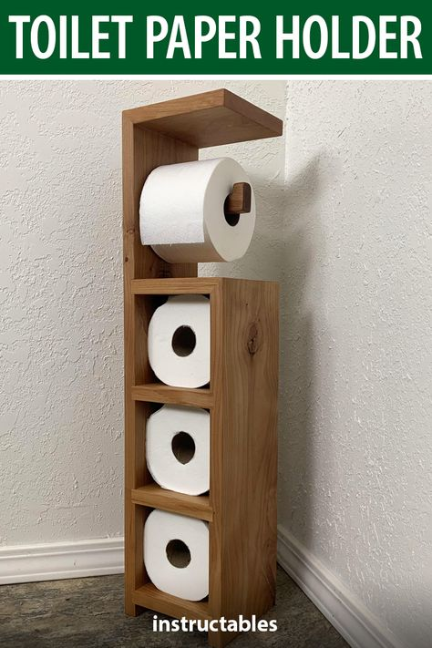 Use scrap wood to aka e toilet paper holder stand that has a shelf on top. It has a spot for the roll in use and storage for three more. wood projects projects diy projects for beginners projects ideas projects plans Wood Shop Projects, Small Wood Projects, Toilet Paper Holder Stand, Funky Junk Interiors, Into The Woods, Easy Woodworking Projects, Woodworking Tools, Carpentry Projects, Wooden Diy