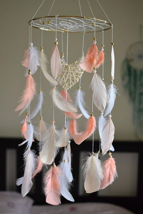 Baby Nursery Mobile Dream Catcher Mobile Feather Mobile | tribal girls nursery