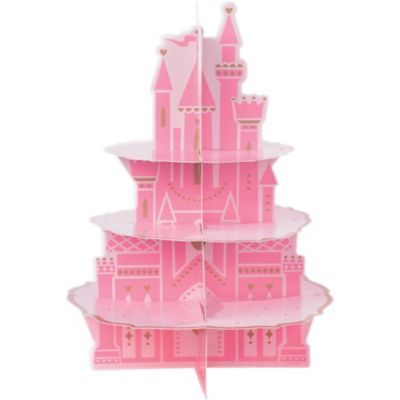Display your enchanted treats on this Disney Once Upon a Time Castle Cupcake Stand. The pink, castle-shaped cupcake stand has three tiers and features elegant gold details throughout. First Disney Princess, Disney Princess Cupcakes, Princess Party Supplies, Kids Party Supplies, Castle Cupcakes, Disney Princess Birthday Party, Princess Birthday Cupcakes, Pink Princess Party, Princess Birthday Party Decorations