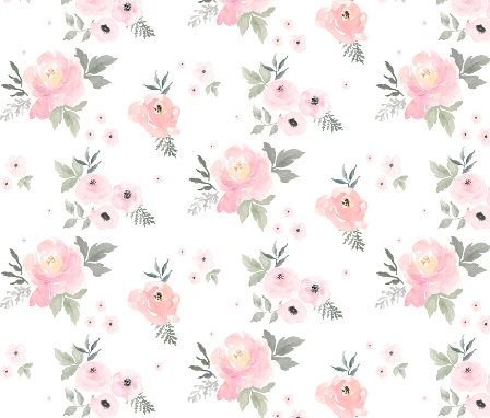 Pink Watercolor Floral Fabric By The Yard Baby Girl Blush Flower Nursery Baby Girl Bedding Blush Roses