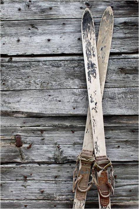 Wood primitive christmas decor - Vintage Wooden Skis Snowzine Com More