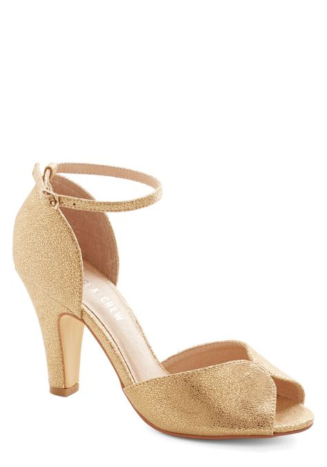 69ed0dd5510 Fine Dining Heel in Gold. A fabulous meal is made even richer by these  beautiful gold heels!  gold  prom  wedding  bridesmaid  modcloth