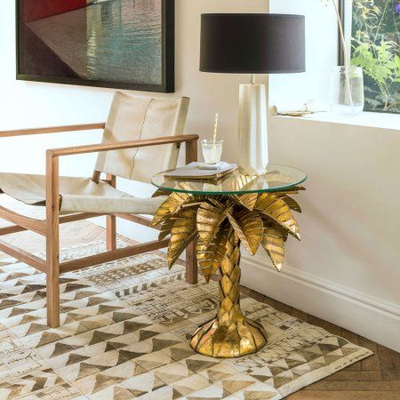 Gold Tropicana Palm Tree Side Table Furniture Graham