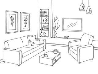 Living Room Graphic Black White Interior Sketch Illustration