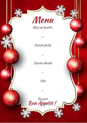 Menu Repas Noel Rouge Etoile Boule gratuit à imprimer (carte 2628