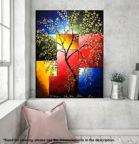 Cherry blossom painting Floral Wall art Tree Painting | Etsy