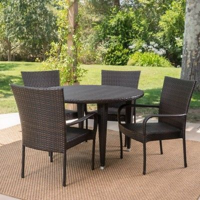 Details About Outdoor Wicker Dining Set Of 5 Round Table Chairs
