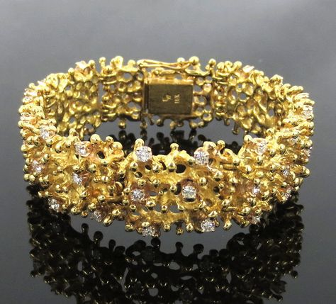 45e43a6f6 Unique Vintage 2.40ct Diamond & 18K Yellow Gold Hand Made Bracelet #Handmade