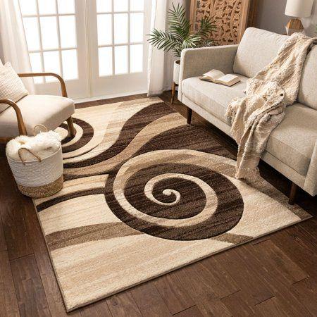 Well Woven Ruby Whirlwind Modern Contemporary Brown Geometric Swirls 6 7 X 9 3 Area Rug Walmart Com Well Woven Brown Area Rugs Area Rug Sizes