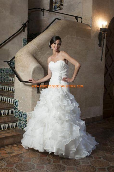 Belle robe de mariée A-line longue blanche 2013 volants organza