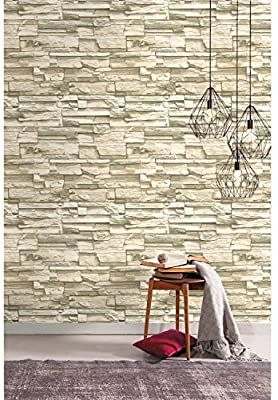 Roommates Natural Stacked Stone Peel And Stick Wallpaper Amazon Com Faux Stone Wallpaper Peel And Stick Wallpaper Wall Wallpaper
