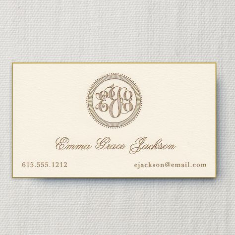 Gilded Age Engraved Monogram Ecru Calling Card With Bevel Edge