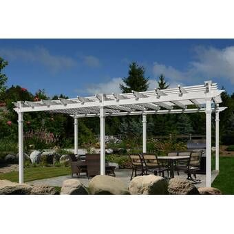 Lodge 14 5 Ft W X 15 Ft D Solid Wood Pergola Vinyl Pergola Outdoor Pergola Pergola