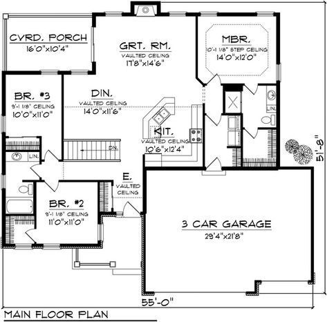 Traditional Style House Plan 3 Beds 2 Baths 1501 Sq Ft Plan 70 1131 Ranch Style House Plans Ranch House Plans Best House Plans