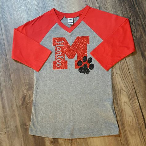 School Spirit shirt with glitter letter and mascot by HaylieCo