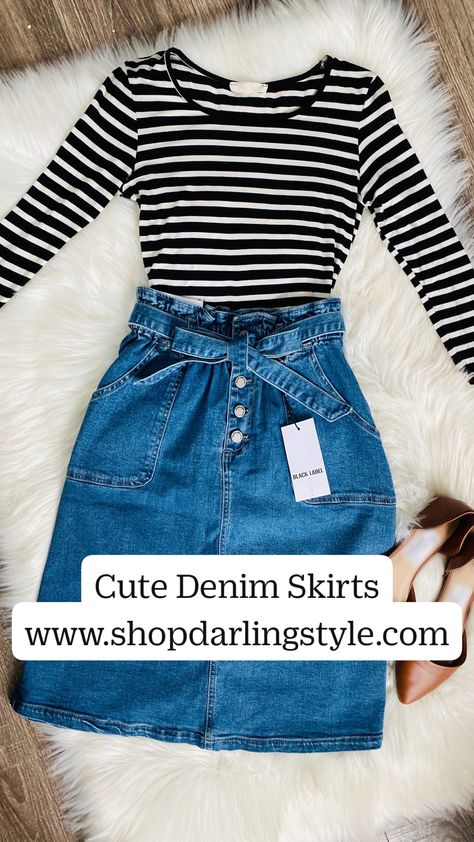 Cute Denim Skirts www.shopdarlingstyle.com