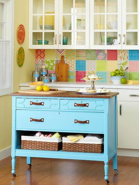 farbige küche hellblaue kücheninsel bunte wandfliesen u2026 Pinteresu2026 - küchen wandfliesen ikea
