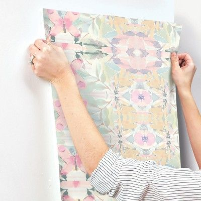 Roommates Synchronized Floral Peel Stick Wallpaper Pink Floral Wallpaper Peel And Stick Wallpaper Temporary Decorating