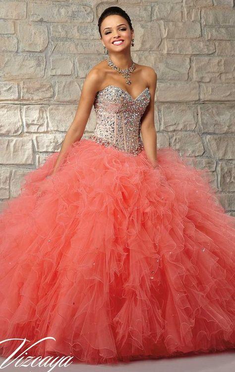 Vestido 15 Anos Color Naranja Para Morenas 6 Quince