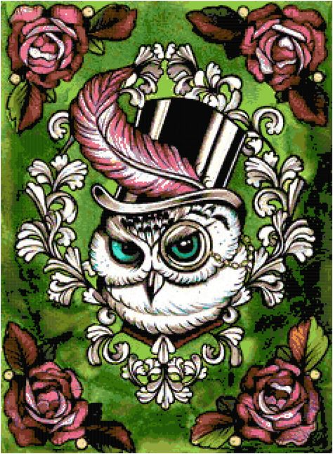 Items similar to Steampunk Victorian Owl in Top Hat - Tattoo Flash Art Print on Etsy