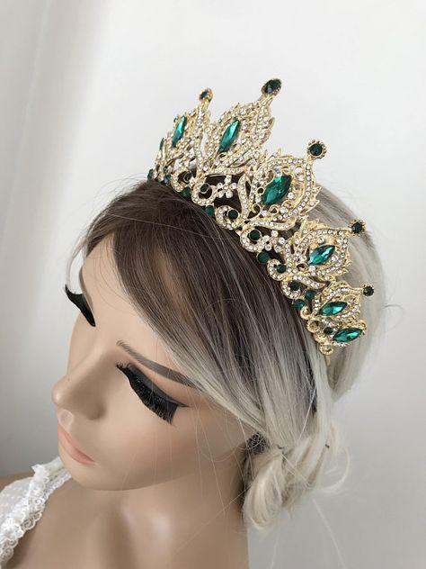 Ideas for bridal tiara gold crystal wedding