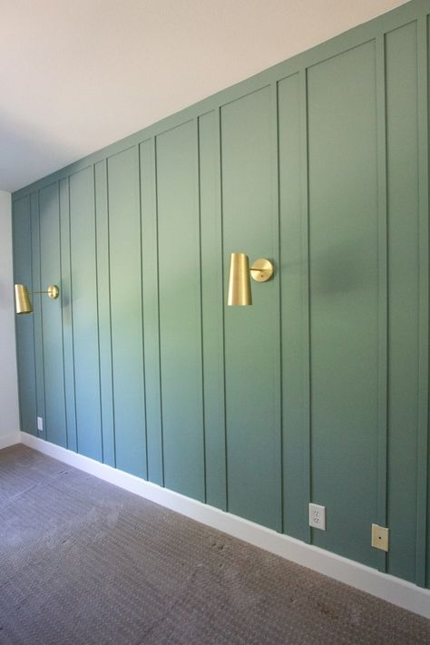 home accents diy DIY Board and Batten Wall Treatment in our Master Bedroom Chic Master Bedroom, Cozy Bedroom, Green Painted Walls, Bedroom With Green Walls, Paint Walls, Accent Wall Bedroom, Kitchen Accent Walls, Bedroom Wall Designs, Bedroom Ideas
