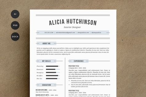 2 Page Resume \ Cover Letter by Glowing Pieces on @creativemarket - examples of 2 page resumes