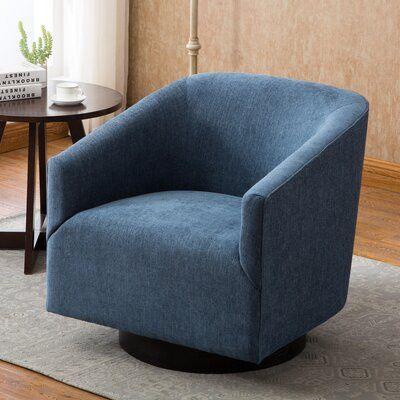Modern Rustic Interiors Kylie Swivel Barrel Chair Upholstery Color Cadet Blue Swivel Barrel Chair Barrel Chair Swivel Chair