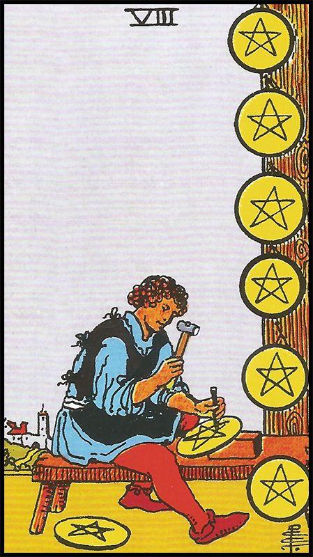 Significado De 8 De Oros Arcanos Menores Tarot Lectura De Tarot Arcanos Menores