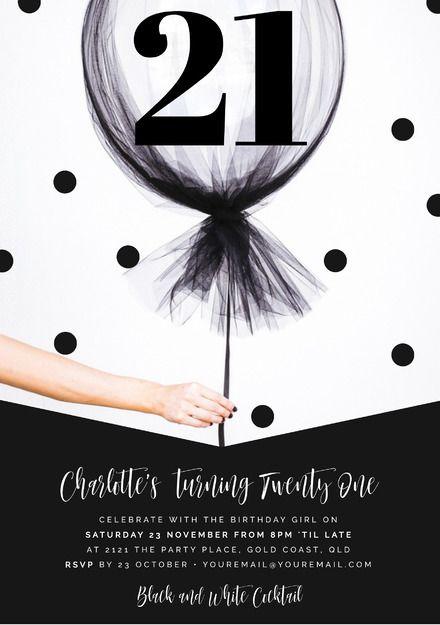 Hand Holding Balloon 21st Birthday Party Invite Template Easil 21st Birthday Invitations Party Invite Template Birthday Party Invitation Templates