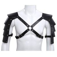 Black Faux Leather Mens Chest Harness