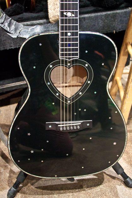 """Ann Wilson of Heart uses a custom Martin guitar with a heart-shaped soundhole and star-constellation inlays for """"These Dreams"""". Acoustic Guitar Photography, Acoustic Guitar Cake, Guitar Art, Music Guitar, Cool Guitar, Playing Guitar, Martin Acoustic Guitar, Guitar Sheet, Guitar Tattoo"""
