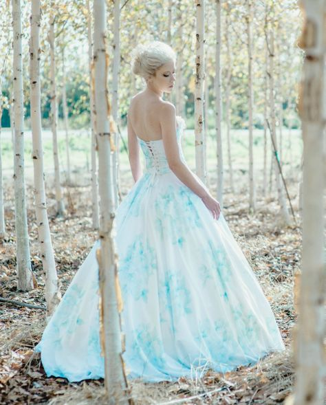 Blue Wedding Dress Floral Watercolor Bonaparte Chiffon Blue
