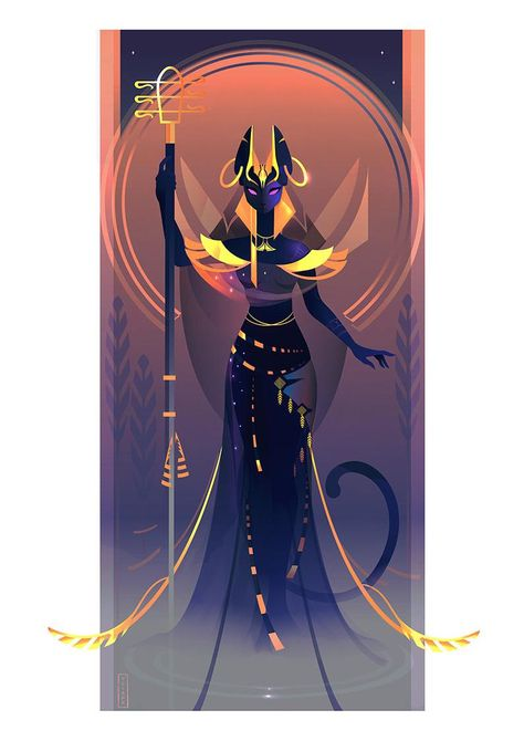 Beautiful Illustrations Of Ancient Egyptian Gods And Goddesses by Yliade: Bastet – Goddess Of Domesticity, Women's Secrets, Cats And Fertility Bastet Goddess, Goddess Art, Egyptian Mythology, Egyptian Goddess, Ancient Egyptian Women, Egyptian Symbols, Ancient Aliens, Egypt Art, Greek Gods