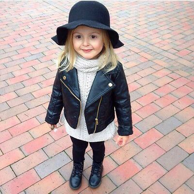Autumn Winter Kids Baby Boys Girls Leather Jacket Short Overcoat Clothes Outwear Leather Jacket Girl Baby Outerwear Spring Outfits Kids