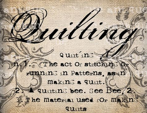 Antique Quilting Definition Scroll Ornate Typewriter  Illustration  Digital Download for Papercrafts, Transfer, Pillows, etc Burlap No 1925
