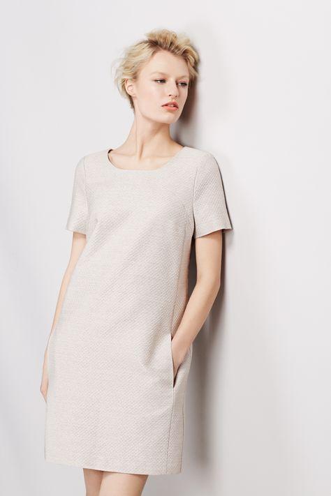 #BestofBritish Wool Blend Textured Shimmer Shift Dress