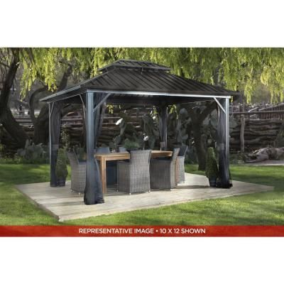 Archwood 12 Ft X 10 Ft Cedar Frame Gazebo With Double Tier Steel Roof Hardtop In 2020 Gazebo Aluminum Gazebo Pergola