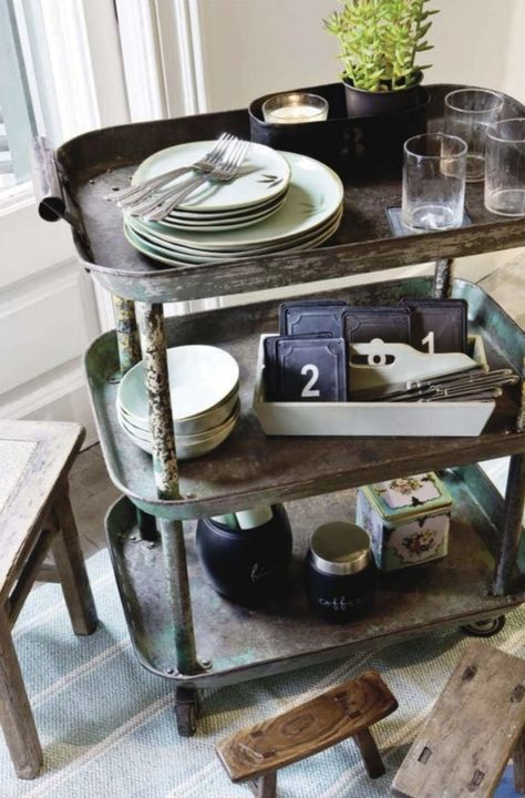 galvanized tea cart - looks almost made from three trays