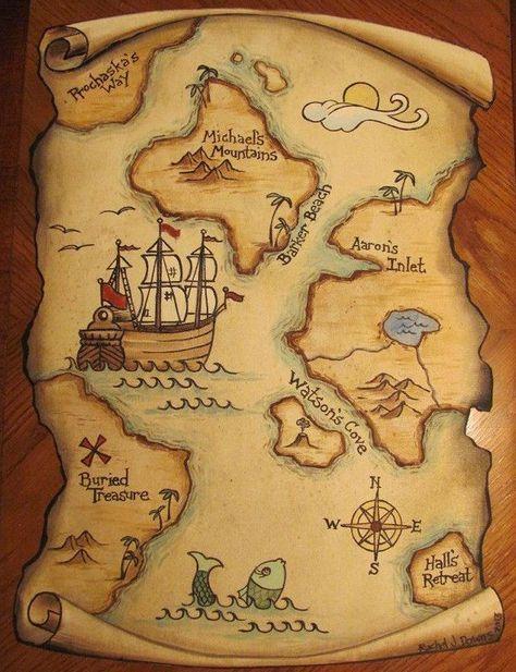 Risultati immagini per giant treasure map wall decoration mural Pirate Treasure Maps, Pirate Maps, Pirate Theme, Treasure Hunt Map, Map Wall Decor, Wall Murals, Deco Pirate, Decoration Pirate, Pirate Birthday