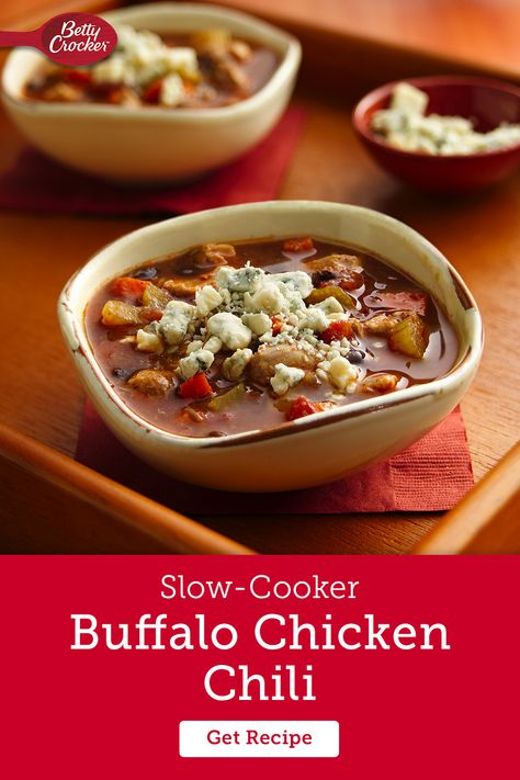 If your family loves buffalo wings for game day, check out a buffalo chicken chili dinner made easy with your slow-cooker. You can even top it with blue cheese to turn the fan-favorite app into a delicious meal. It only takes 15 minutes to prep and you can come home to a winning recipe full of flavor.