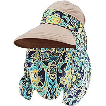 Hestya 1 Pack Protection Summer Sun Hats Wide Brim Cap Sun Visor Hats With Neck Protector For Women And Ladies Khaki Sun Visor Hat Summer Sun Hat Sun Hats